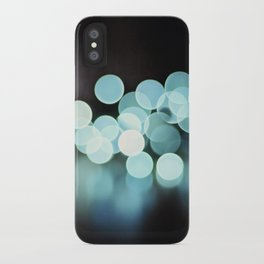 Aqua Black Bokeh Abstract Photography, Turquoise Sparkle Print, Teal Blue Sparkly Art Photo iPhone Case