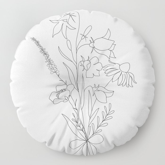 Small Wildflowers Minimalist Line Art Floor Pillow