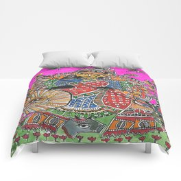 Madhubani - Pink Durga Comforters