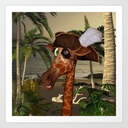 Cute, funny pirate giraffe Art Print