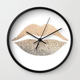 GOLD LIPS Wall Clock