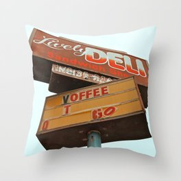 The old deli Throw Pillow