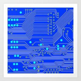 Blue Circuit Board  Art Print