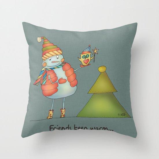 Friends keep warm - greyish Throw Pillow
