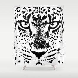 Black and White Leopard Big Wild Cat Shower Curtain