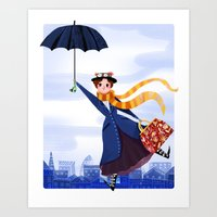 mary poppins Art Prints featuring Mary Poppins by giovanamedeiros