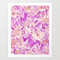 TROPICAL FLAIR Pink Watercolor Floral Art Print