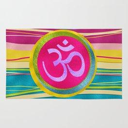 Colorfull Glitter OM symbol on  Pattern Rug