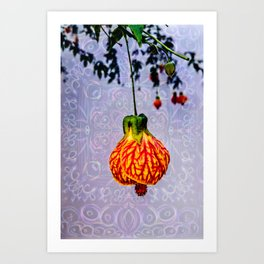 Stained glass and flower pendant Art Print