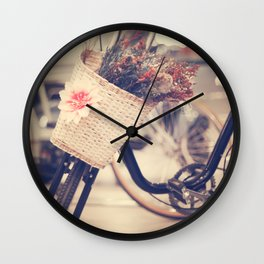 Vintage Bike and Baskwt with flowers Wall Clock
