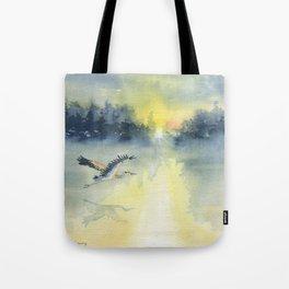 Flying Home - Great Blue Heron Tote Bag