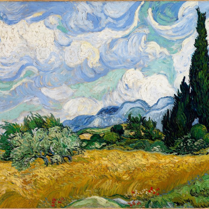 Wheat Field with Cypresses Comforters
