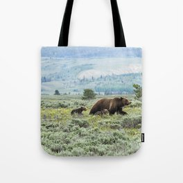 Heading South, No. 2 - Grizzly 399 and Cubs Tote Bag