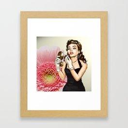 Retro Pinup Girl Compact Lipstick & Pink Flower Framed Art Print