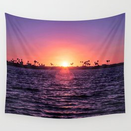 Mission Bay Palm Tree Sunset in San Diego, California Wall Tapestry