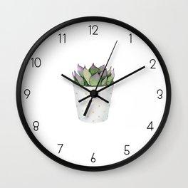 Succulent in a pot. Wall Clock
