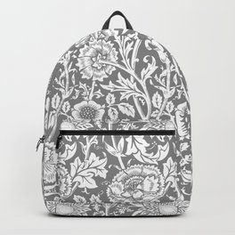 "William Morris Floral Pattern | ""Pink and Rose"" in Grey and White Backpack"