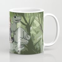 puppies Mugs featuring Jurrasic puppies by DeanDraws