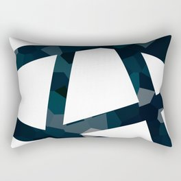 Navy Blue Polygon Abstract Lines Rectangular Pillow