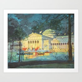 Lagoon at Night; Palace of Fine Arts in Chicago 1893 Art Print