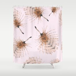 Delicate Brown Feather Seamless Pattern On Pink Shower Curtain
