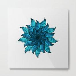 Blue Wave Mandala Metal Print