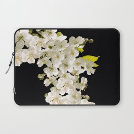 Cherry Flowers On Black Background #decor #society6 #buyart Laptop Sleeve