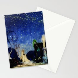 Deserted Moment magical realism landscape painting by Kay Nielsen Stationery Cards