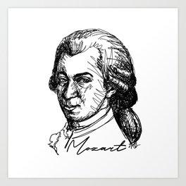 Wolfgang Amadeus Mozart sketch Art Print