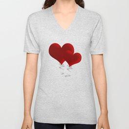 Valentine love hearts Unisex V-Neck