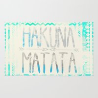 hakuna Area & Throw Rugs featuring Hakuna Matata by Sara Eshak