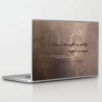 maori Laptop & iPad Skins featuring Strength in Unity - Defeat in Anger - Maori Wisdom - metalic by Tiki Kiwi