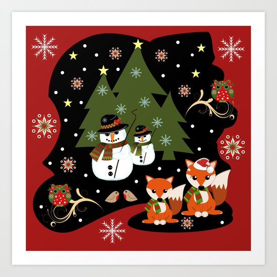 Christmas with owls, foxes and snowmen holidaze Art Print