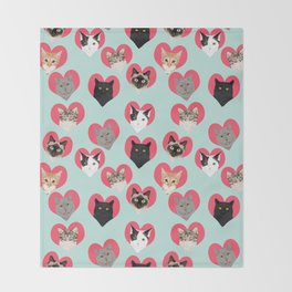 Cat hearts valentines day cat lady gifts for cat lovers cat breeds pet portraits Throw Blanket
