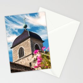 Old medieval style stone church of Perouges in France Stationery Cards