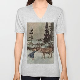 """Gerda Kisses The Reindeer"" by Edmund Dulac Unisex V-Neck"