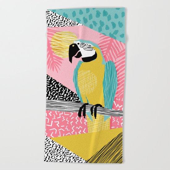 Holy Moly - memphis throwback retro neon bird macaw tropical island pop art bird watching 1980s Beach Towel