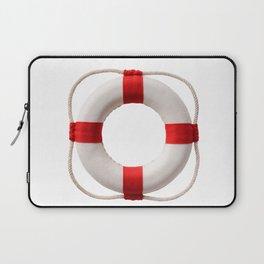 White-red lifebuoy, isolated on white background Laptop Sleeve