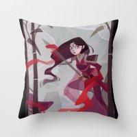 mulan Throw Pillows featuring Mulan by Ann Marcellino