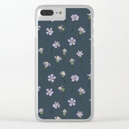 Dainty Wildflowers - Steel Blue & Lilac Clear iPhone Case