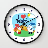 coraline Wall Clocks featuring Ernest and Coraline | I love Idaho by Hisame Artwork