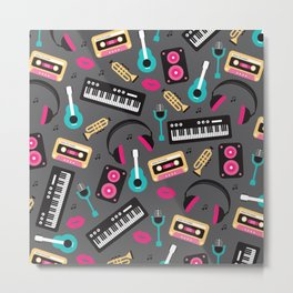 Jazz music instruments and sounds pattern Metal Print
