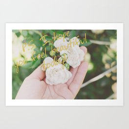 Motivation card on background of two white roses in female hand Art Print