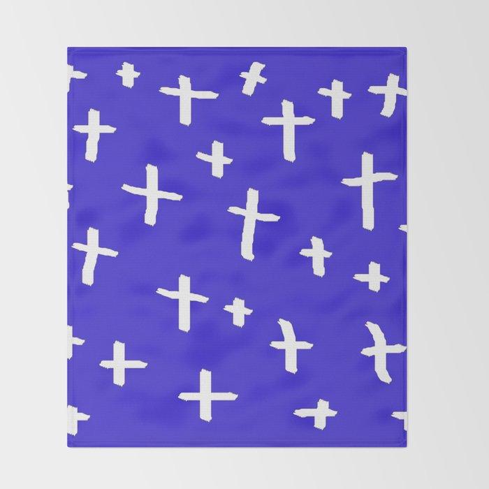 blue white cross Throw Blanket