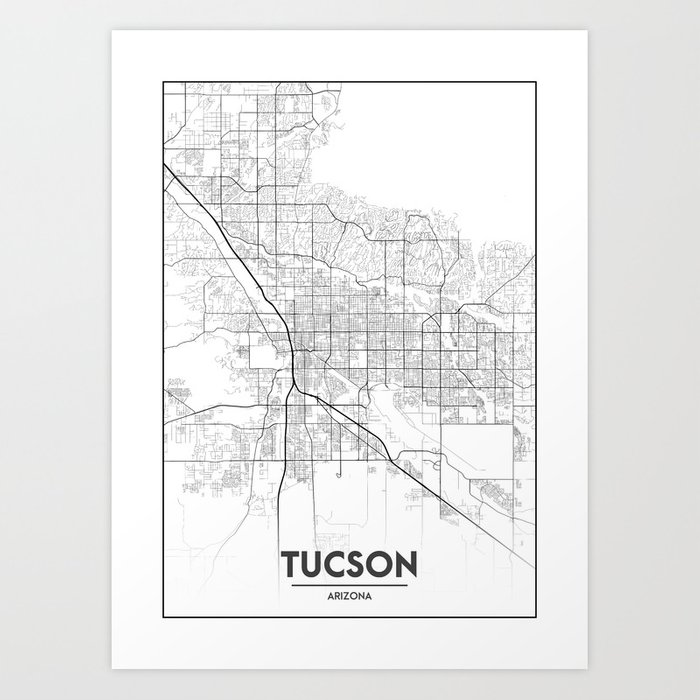 graphic regarding Printable Map of Tucson Az called Minimum Town Maps - Map Of Tucson, Arizona, United Suggests Artwork Print by means of valsymot