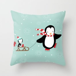 Sled Ride Throw Pillow
