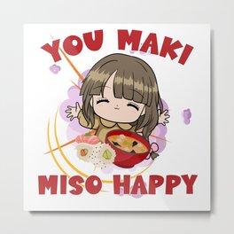 You Maki Miso Happy Senpai Manga Metal Print
