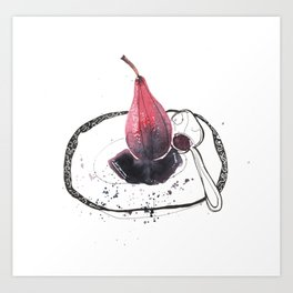 Poached Pear in Red Wine Art Print