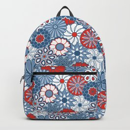 Cute Mid Century Modern Flowers - Red, White and Blue Backpack