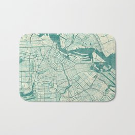 Amsterdam Map Blue Vintage Bath Mat